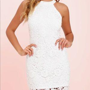 Lulus White Love Poem Ivory Lace Dress